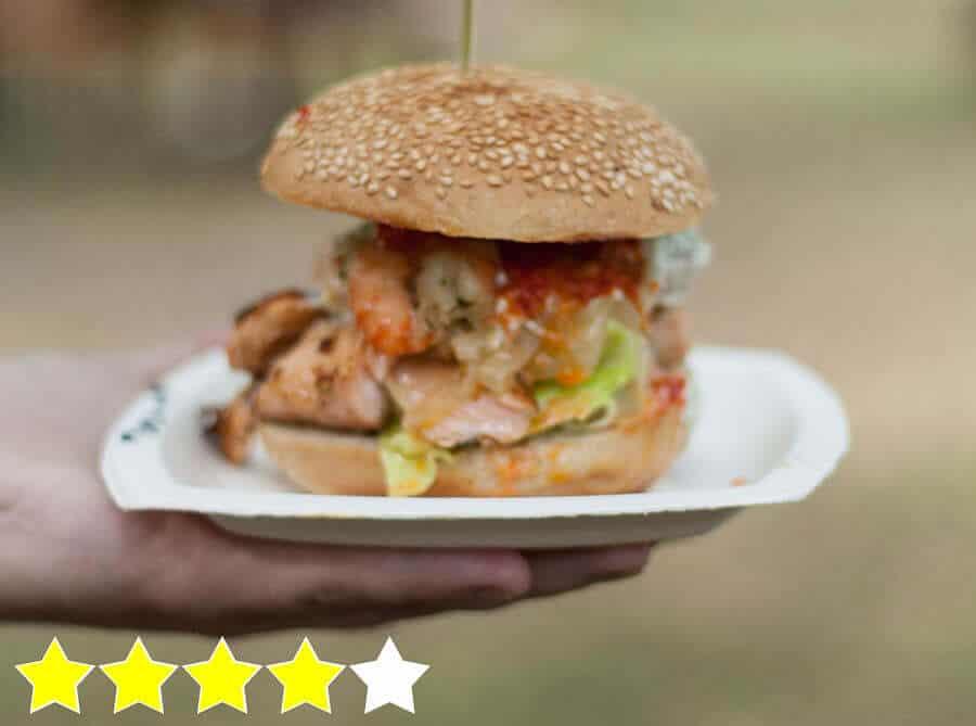 Lachsburger mit Prawns