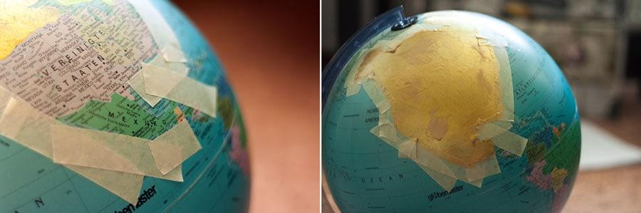 Globus abkleben und mit Farbe bestreichen
