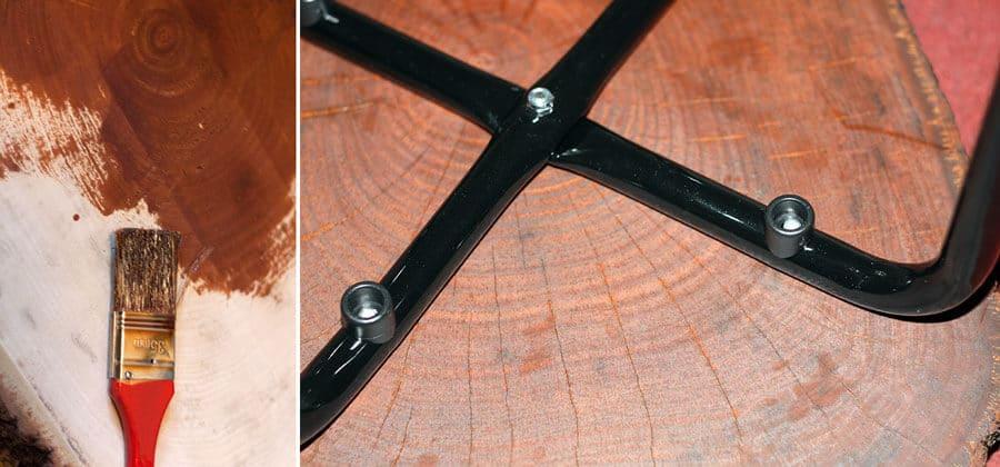 Holzscheibe lackieren und den Hockern dranbohren