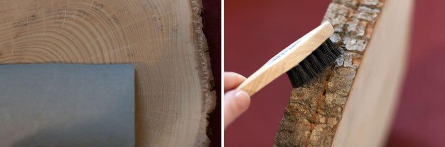 Holzscheibe abschleifen und Rinde saubermachen