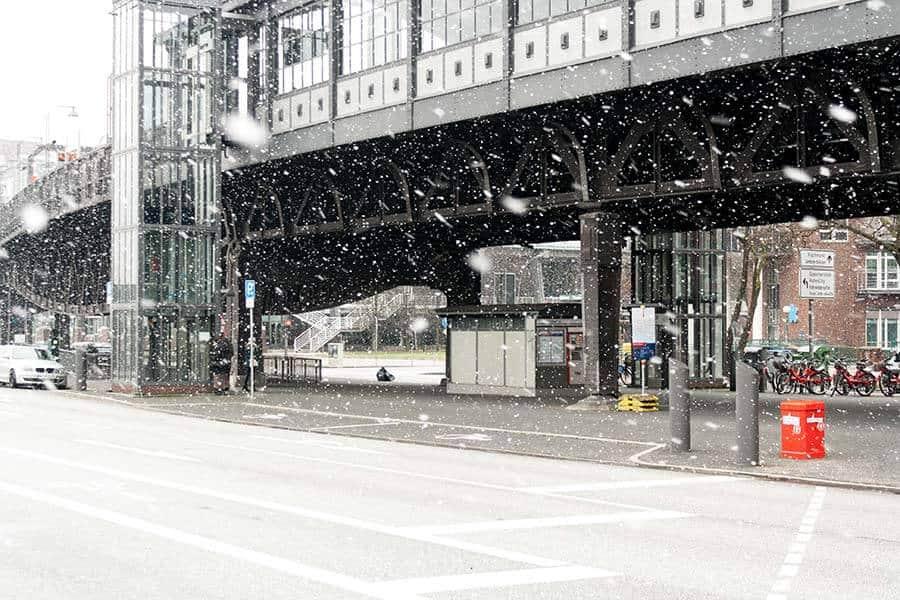 Es schneit in Hamburg