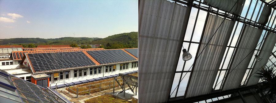 Photovoltaikanlagen auf dem Dach des Umwelt-Campus