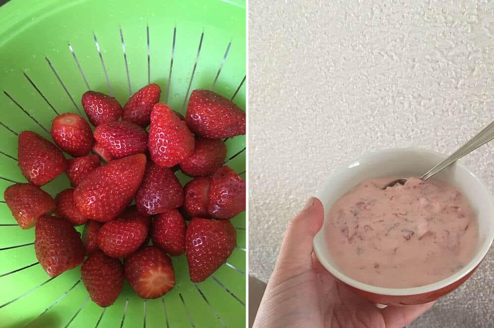 Frische Erdbeeren mit Schlagsahne und Frischkäse. Yum!