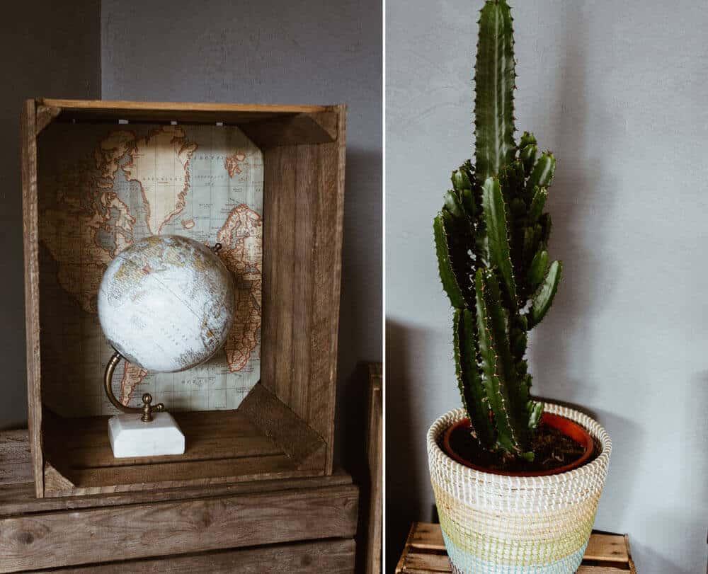 Globus mit Weltkarte im Hintergrund und Kaktus auf Holzkiste