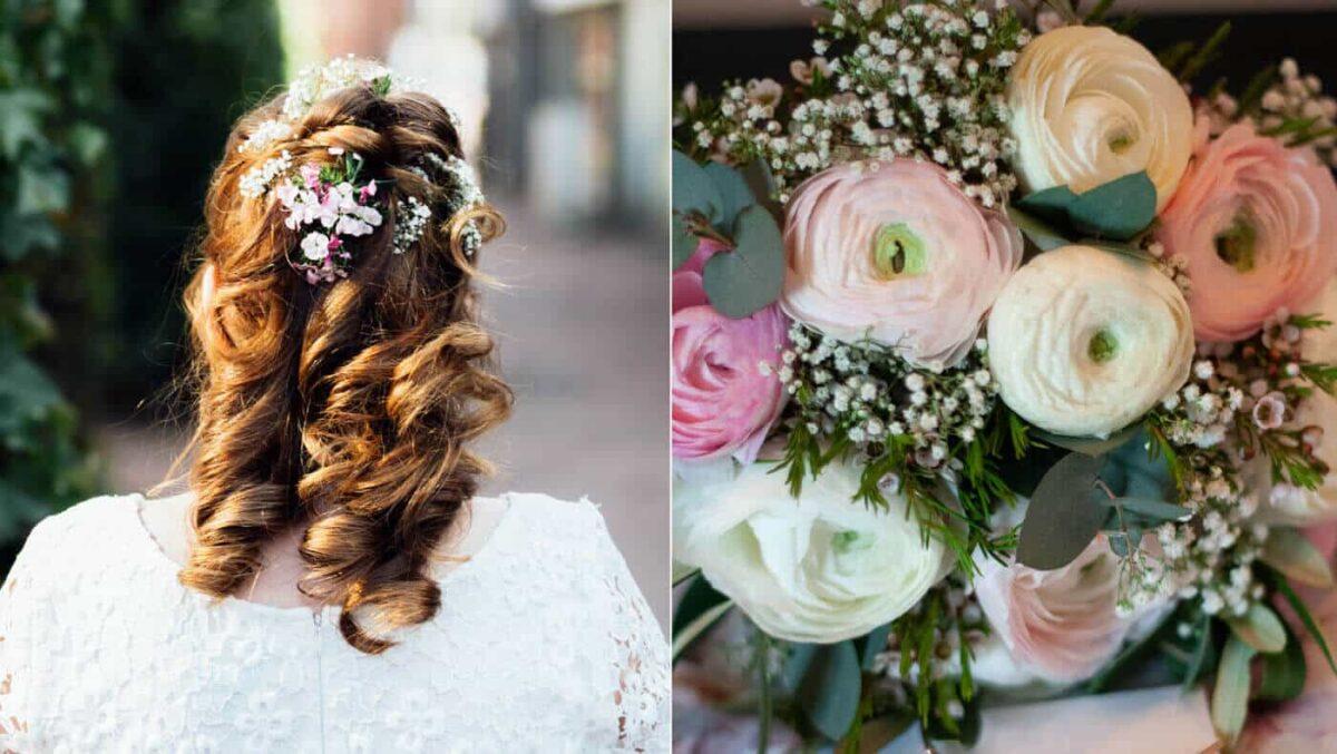 Frisur und Brautstrauß