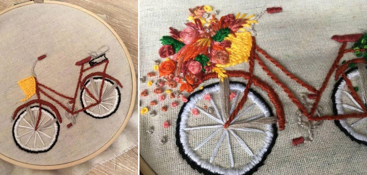 Fahrrad mit Blumenkorb gestickt